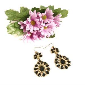 Black and Gold-tone Dangle Drop Pierced Earrings